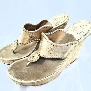 Jack Roger's Gold Thong Wedge Espadrilles Sandals